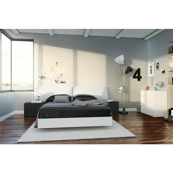 Ens. de chambre à coucher double lit, 5 mcx, blanc/noir