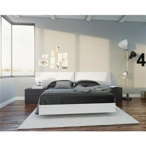 Ens. de chambre à coucher double lit, 4 mcx, blanc/noir