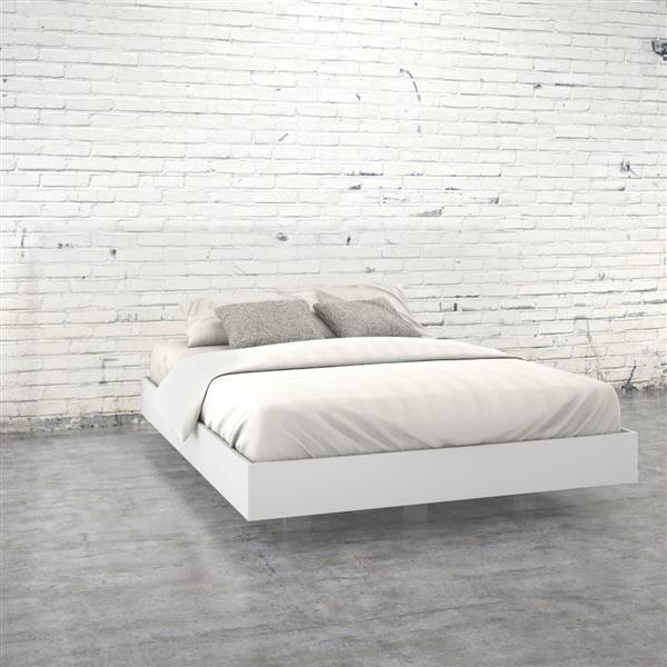 Ens. de chambre à coucher grand lit, 5 mcx, blanc/ébène