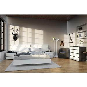 Nexera Acapella 5 Piece White and Ebony Queen Bedroom Set