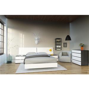 Ens. de chambre à coucher double, 5 mcx, blanc/ébène