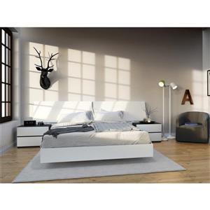 Ens. de chambre à coucher grand lit, 4 mcx, blanc/ébène
