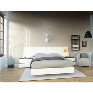 Ens. de chambre à coucher double, 4 mcx, blanc/ébène