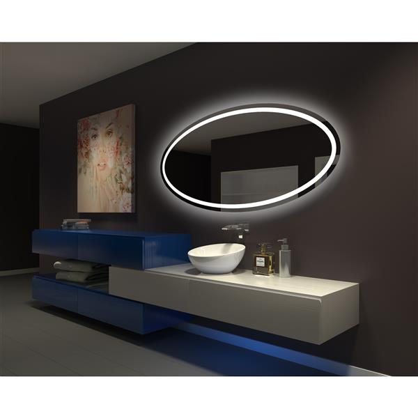 Paris Mirror 70-in x 32-in 6000K 24V LED Lighting Oval Mirror