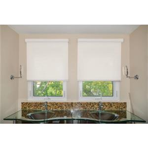 Sun Glow 33-in X 72-in White Chainless Woven Roller Shade with Valance