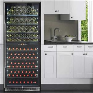 Refroidisseur à vin à deux zones, 300 bouteilles, noir