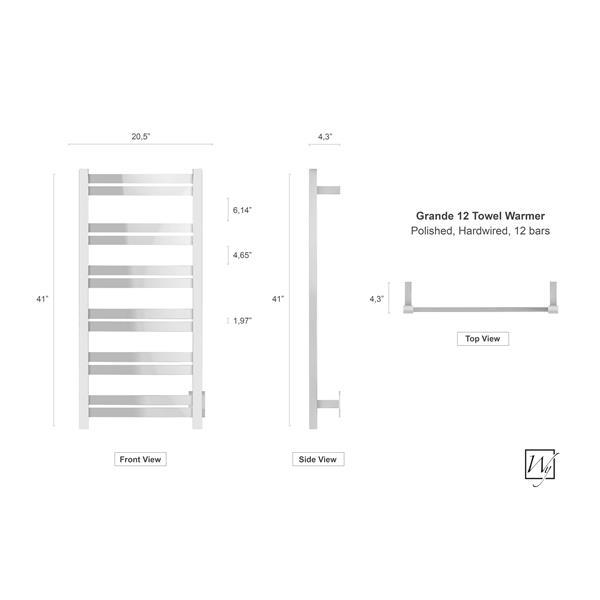 WarmlyYours Grande 41-in Chrome 12-Bar Towel Warmer