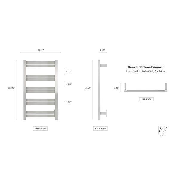 WarmlyYours Grande 34.2-in Brushed Stainless Steel 10-Bar Towel Warmer