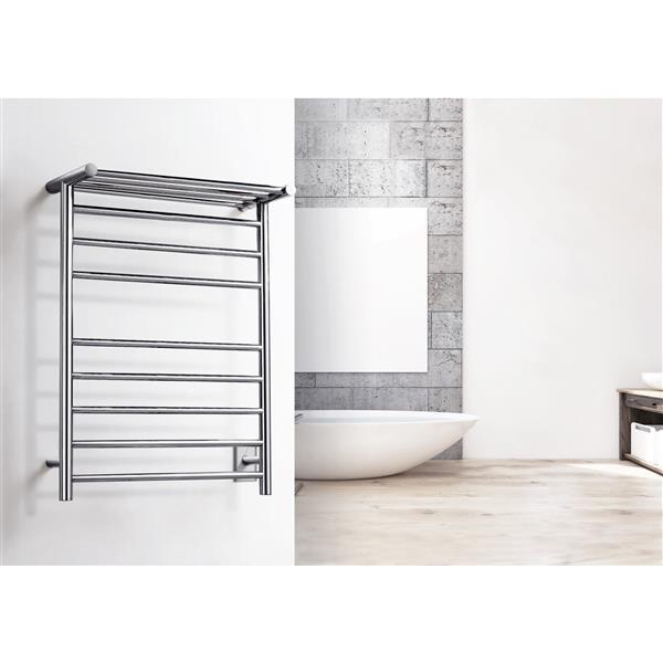 WarmlyYours Huron 23.6-in Brushed Steel 8-Bar Towel Warmer
