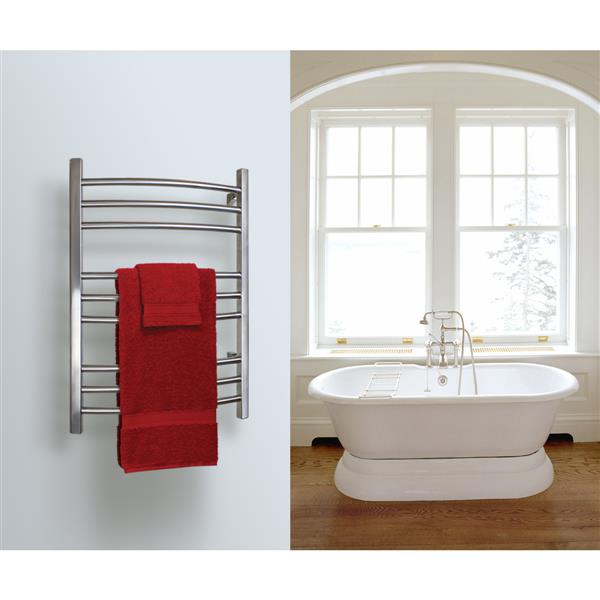 WarmlyYours Riviera 24-in Brushed Stainless 9-Bar Towel Warmer