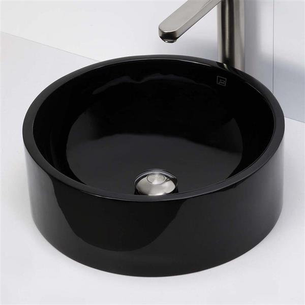 Decolav Lana Above-Counter Round Obsidian Resin Sink