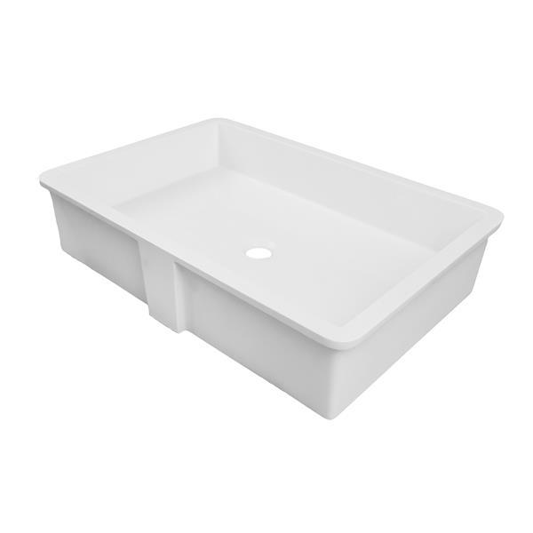 Lavabo encastré à surface solide Saidi, rectangulaire, blanc