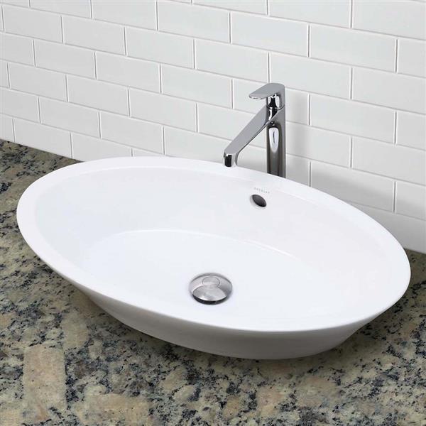Vasque Shaina, ovale, blanc