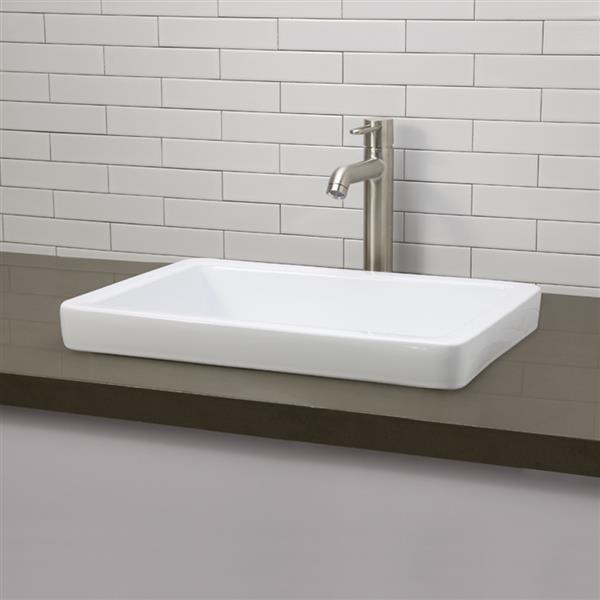 Lavabo semi-encastré Ambre, rectangulaire, blanc