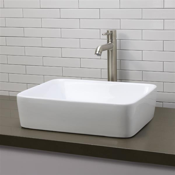 Decolav Gemma Above-Counter Rectangular White Sink
