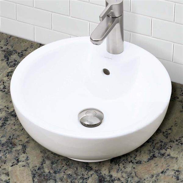 Vasque avec trop-plein Kyra, rond, blanc