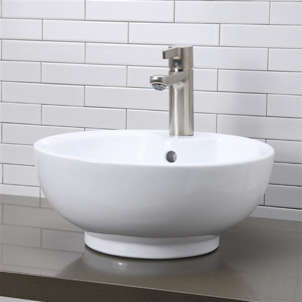 Decolav Kyra Above-Counter Round White Vessel With Overflow