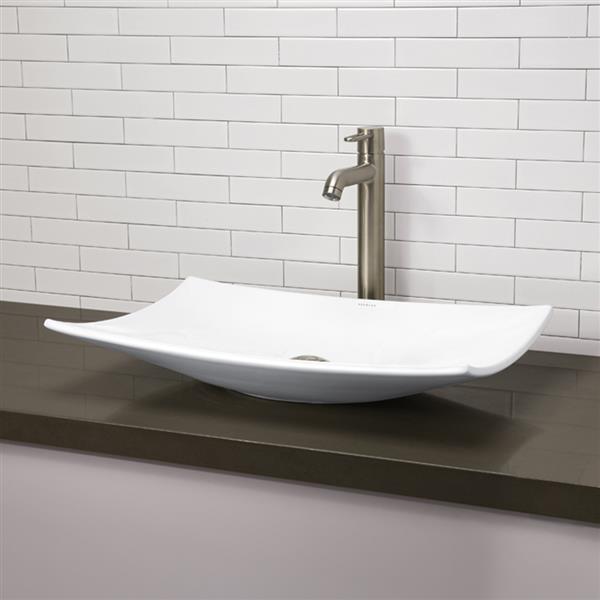 Decolav Iris Above-Counter Rectangular White Sink