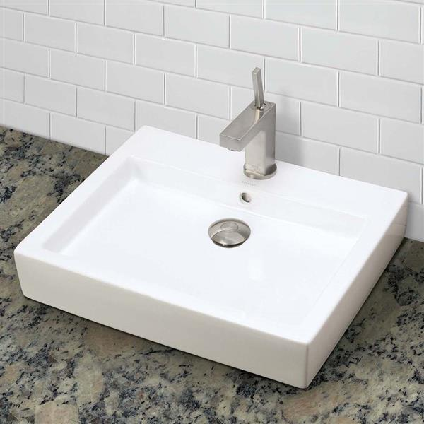 Decolav Classically Redefined Above-Counter Rectangular Vessel Sink - White