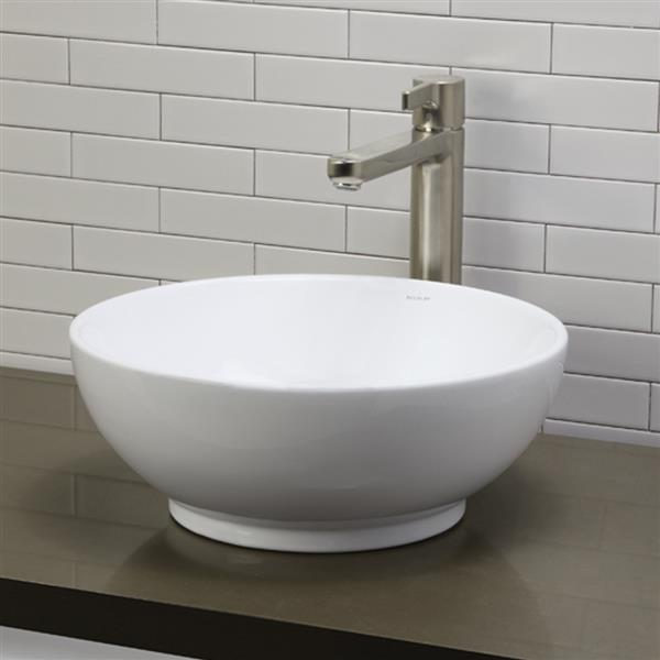 Vasque avec trop-plein Aila, rond, blanc