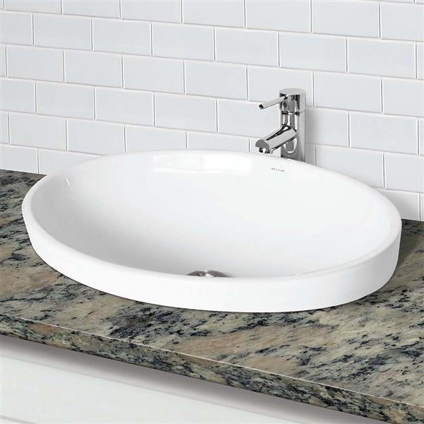 Lavabo semi-encastré Delphine, ovale, blanc