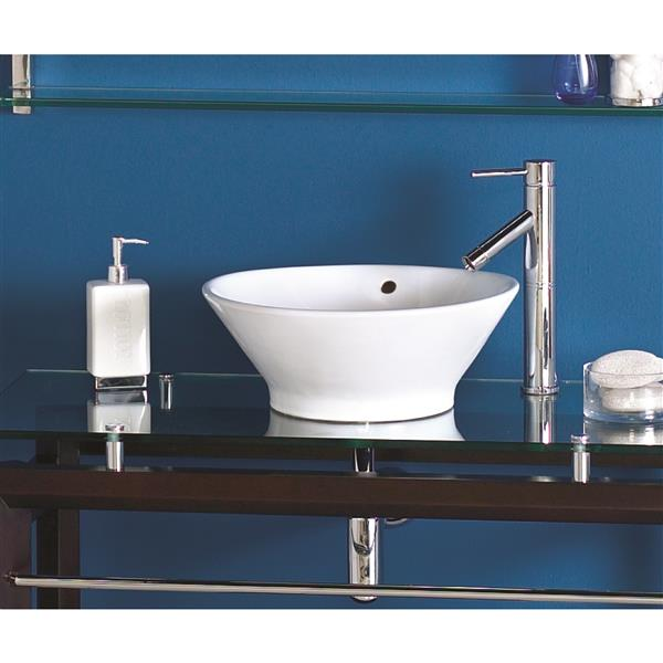 Decolav Celena Above-Counter Round White Sink With Overflow