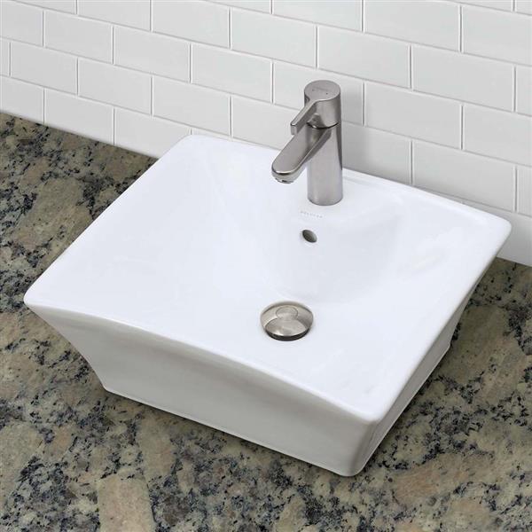 Vasque avec trop-plein Dahlia, carré, blanc