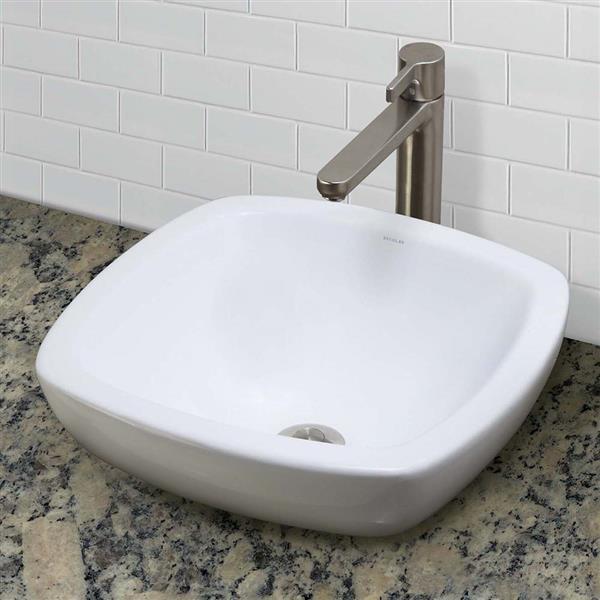 Vasque en porcelaine vitrifiée Amalie, carré, blanc