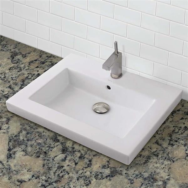 Decolav Chloe Semi-Recessed Rectangular White Bathroom Sink