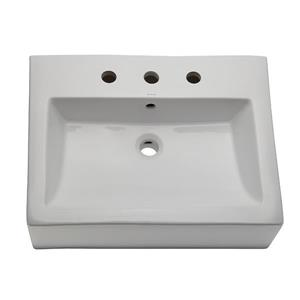 Decolav Naiyah Classically Redefined Rectangular Above-Counter Vessel with Overflow White
