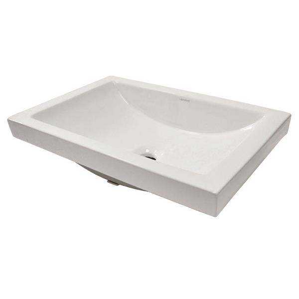 Decolav Breanna White Rectangular Semi-Recessed Sink With Overflow