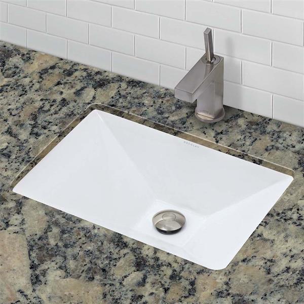 Lavabo encastré avec trop-plein Amabella, rectang., blanc
