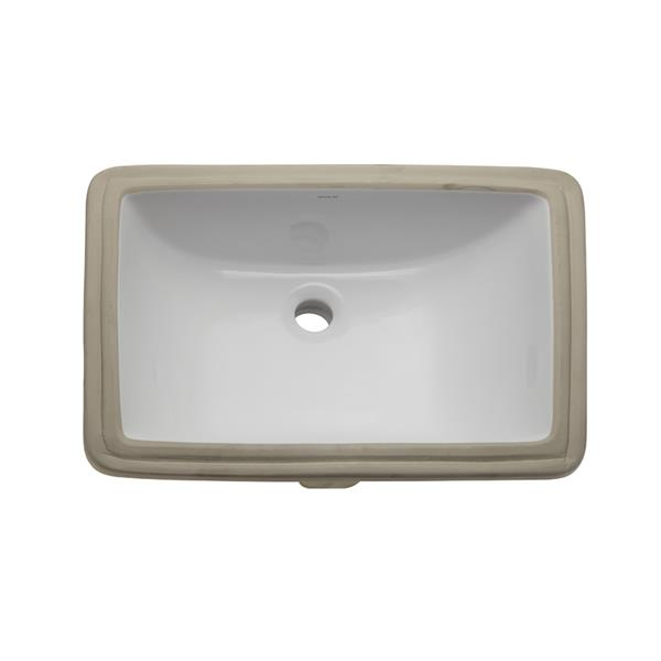 Decolav Callensia Undermount White Rectangular Sink With Overflow