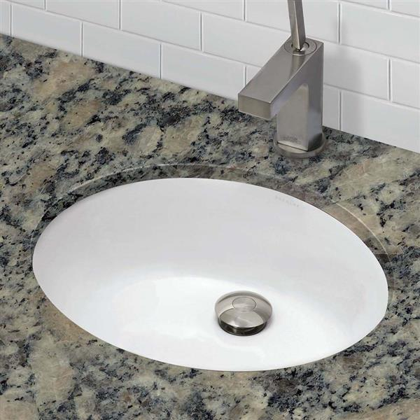 Decolav Carlyn Undermount Oval White Sink With Overflow