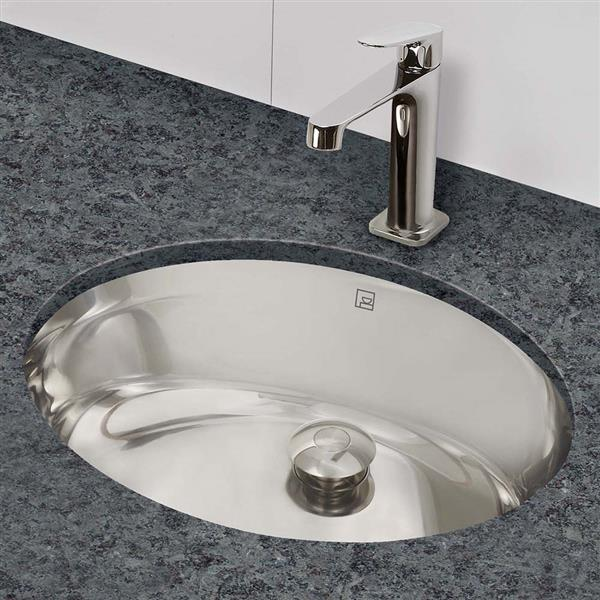 Decolav Simply Stainless Oval Basin Undrmount Sink with Overflow - Brushed Stainless Steel
