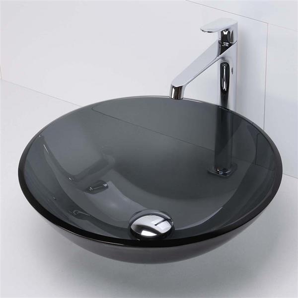 Decolav Montana Tempered Glass Vessel - Round - Transparent Black