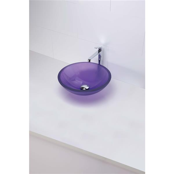 Decolav Anani Frosted Violet Round Tempered Glass Sink