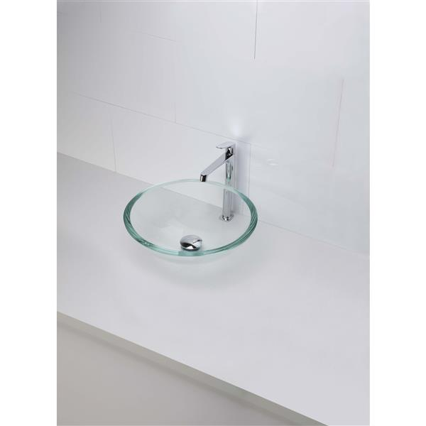 Decolav Anani Transparent Crystal Round Tempered Glass Sink