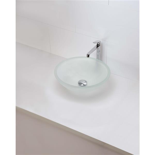 Vasque en verre trempé Anani, rond, cristal givré