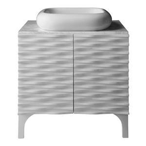 Vanité avec comptoir et lavabo Sophia, blanc satiné