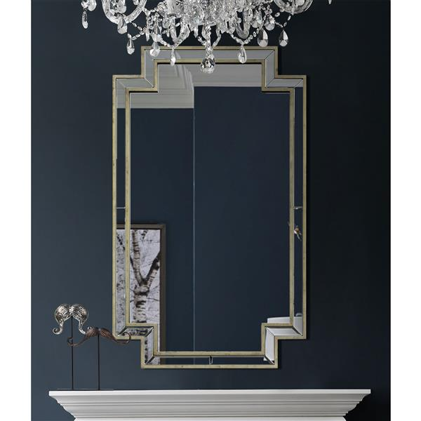 Notre Dame Design Raton Mirror - 24-in x 40-in- Wood - Silver