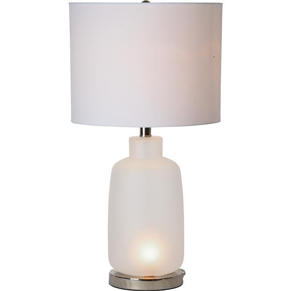"Lampe Gloucester, Notre Dame Design, 13"", verre, blanc"