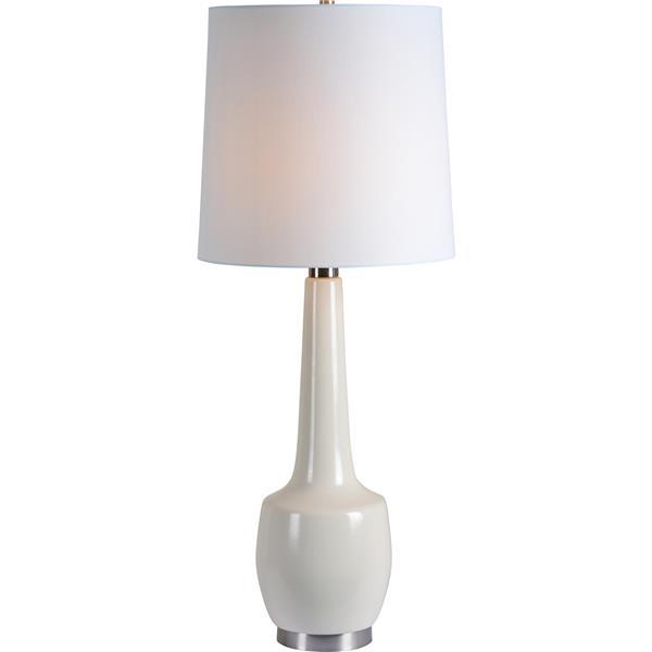 "Lampe Kirkgate, Notre Dame Design, 35,5"", tissu, blanc"