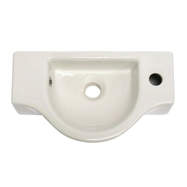 ALFI Brand White Porcelain Wall-Mount Rectangular Bathroom Sink with Overflow