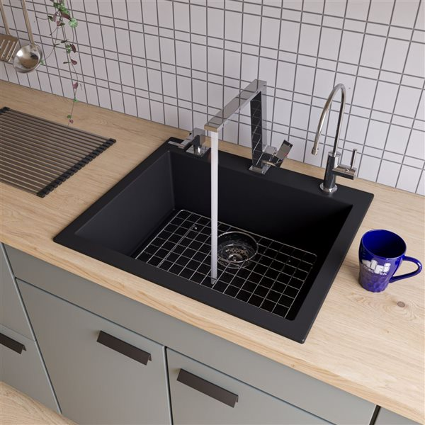 ALFI Brand 20.125-in x 23.625-in Black Single-Basin Standard Drop-In 1-Hole Residential Kitchen Sink