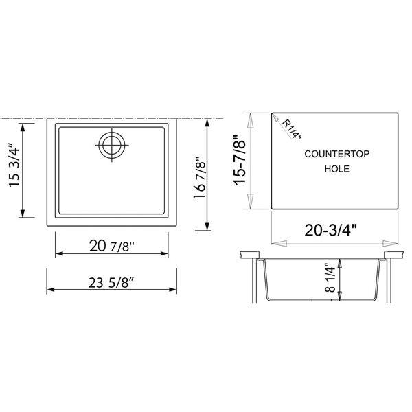 ALFI Brand 20.125-in x 23.625-in White Single-Basin Standard Undermount Residential Kitchen Sink