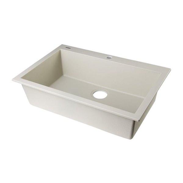 ALFI Brand 19.875-in x 30-in Biscuit Single-Basin Standard Drop-In 1-Hole Residential Kitchen Sink