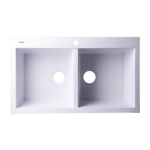 ALFI Brand 20.125-in x 34-in White Double-Basin Drop-In 1-Hole Residential Kitchen Sink