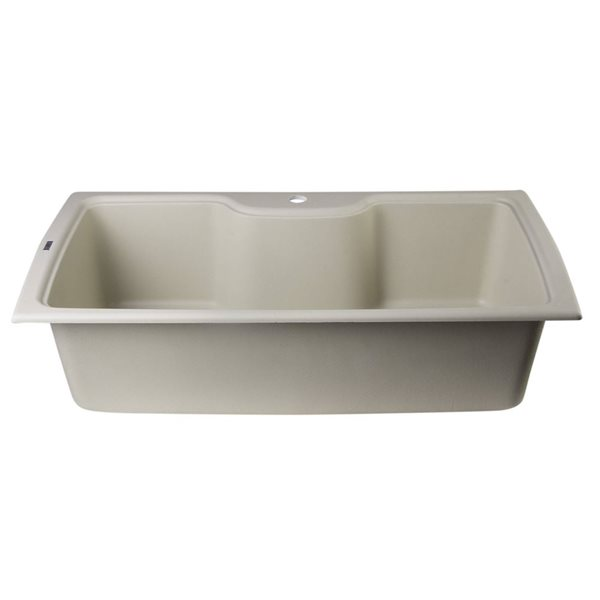 ALFI brand 19.66-in x 34.625-in Biscuit Single-Basin Standard Drop-In 1-Hole Residential Kitchen Sink
