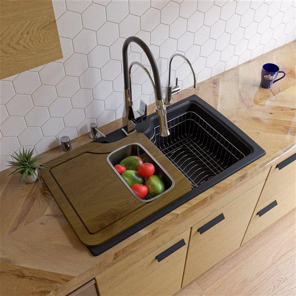 ALFI brand 19.66-in x 34.625-in Black Single-Basin Standard Drop-In 1-Hole Residential Kitchen Sink